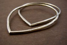 RFordMetals - Urban Rustic Lotus Petal Silver Forged Bangle Duo Set Sterling