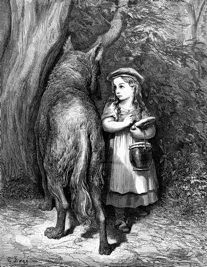 Ilustração de Gustave Doré para Chapeuzinho Vermelho de Charles Perroult.