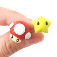 Super Mario Themed Mushroom and Super Star Power Up Polymer Clay Stud Earrings