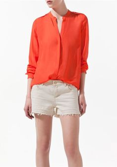 Orange Epaulets V-neck Long Sleeve Chiffon Blouse
