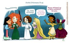 There are princesses of all kinds, even from space.   What If The Disney Princesses All Lived Together?