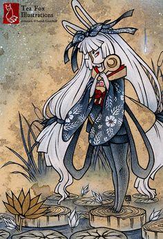 Miri / Moon Rabbit Yokai Japanese Art Asian by TeaFoxIllustrations, $3.00