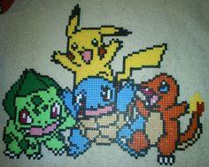 Starter-Pokemon from Kanto - Perler or Hama by Chrisbeeblack.deviantart.com