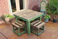 (Paint example for pallet table under clock--top stained legs colored.)  DIY Pallet Breakfast Table