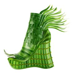tropical green botanical shoe......This is from a book 'Shoe Fleur: A Footwear fantasy......all the shoes are made from botanicals and flowers. The man being all of this is Michel Tcherevkoff