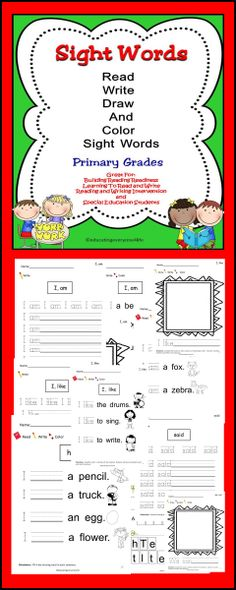 Sight Words:  Activities to help students build a strong foundation in reading. #TpT, #Reading, #Sight Words TpT