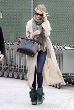 With skinny jeans, long cardigan and leopard scarf - Styleoholic