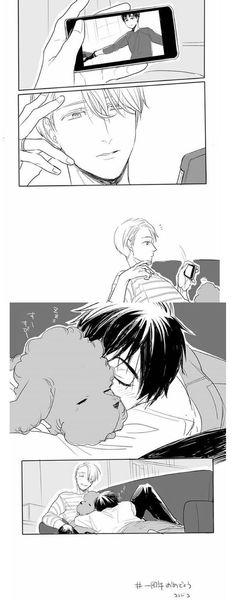 """How Our Eros Began"" . . . . [Comic Credits: Cocodoco510 Originally on Twitter, but I saw this on Instagram, courtesy of viktor.nikiforov28] Yuri and Viktor /// Yuri on Ice /// boyslove bl anime boyxboy"