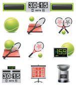 Vector tennis icon set — Vetor de Stock