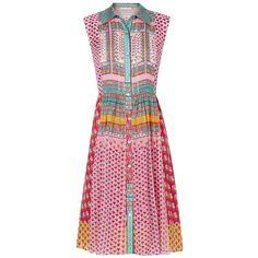 DVF Nieves Pleated Chiffon Shirt Dress (€470) ❤ liked on Polyvore featuring dresses, pleated shirt dress, collar dress, pleated chiffon dress, wet look dress and layered chiffon dress