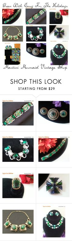"""Green With Envy For The Holidays"" by martinimermaid ❤ liked on Polyvore featuring vintage, GREEN and jewelry"