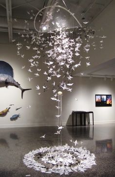 27 Excellent Photo of Origami Art Installation . Origami Art Installation This Origami Crane Sculpture Is Inspiring A Scene In Complicated Origami Ball, Diy Origami, Origami Design, Hanging Origami, Origami Wedding, Origami Paper Art, Origami Fish, Origami Butterfly, Useful Origami