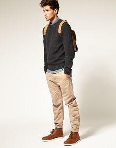 ASOS Textured Knit Elbow Patch Crew Neck Jumper #menswear £35