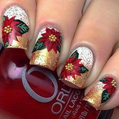 Here is a tutorial for an interesting Christmas nail art Silver glitter on a white background – a very elegant idea to welcome Christmas with style Decoration in a light garland for your Christmas nails Materials and tools needed: base… Continue Reading → Christmas Nail Art Designs, Holiday Nail Art, Winter Nail Art, Winter Nails, Cute Christmas Nails, Xmas Nails, Christmas Eve, Christmas Manicure, Christmas Poinsettia