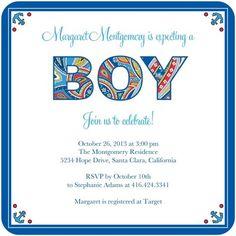 Baby shower invitation design by Vera Bradley for Tiny Prints!