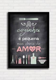 Poster Lousa - A Cozinha é Pequena mas Cheia de Amor - Sabrina Matias Printable Recipe Cards, Printable Wall Art, Home Design Decor, Diy Home Decor, New Home Quotes, Barbie, Creative Decor, Decoration, Chalkboard