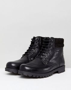 6bfbdfa5697 ASOS Wide Fit Lace Up Worker Boots In Black Leather - Black
