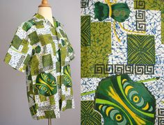 381253bc Vintage 60s Mens HAWAIIAN Shirt Green Kitsch Shirt Camp Shirt Rockabilly  Hipster MOD Retro Lounge Shirt Luau Polynesian Tiki Sears MONEY
