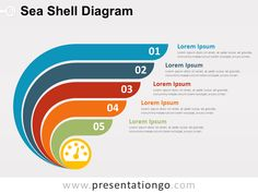 Free sea shell diagram for PowerPoint. Colored graphic design with 5 options. Editable graphics with text placeholder. Use this diagram to show 5 ideas, concepts or as a 5-step conversion process. It also can be used for a progression or sequential steps (or stages) in a successful task, process, or workflow. Shapes are 100% editable: colors