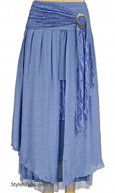 Antique Belted Skirt In Light Blue