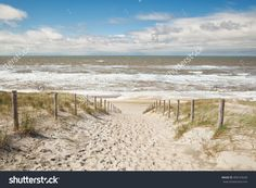 Sand Path To Sea Beach In Sunny Day, Netherlands Stockfoto 409163638 : Shutterstock