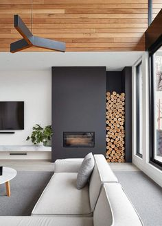 These 15 beautiful modern fireplace designs are so beautiful and yet easy to . - Do it yourself dream house luxury home house rooms bedroom furniture home bathroom home modern homes interior penthouse Modern House Design, Home, Modern Interior, Fireplace Design, Modern Interior Design, House Interior, Chimney Design, Bloomfield Homes, Modern Fireplace