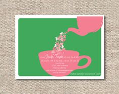 Bridal Shower Tea Party Invitations by Preppypaperie on Etsy