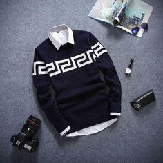 Round Neck Long Sleeved Men's Sweater