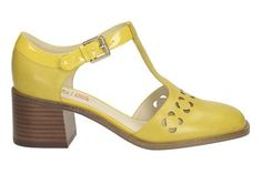 Love these Orla Kiely shows for Clarks.Womens. Smart Shoes - Orla Bibi in Yellow Leather from Clarks shoes