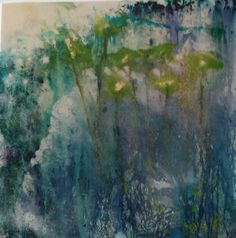 Lily Pond - watercolour, acrylics, inks on textured canvas with resin