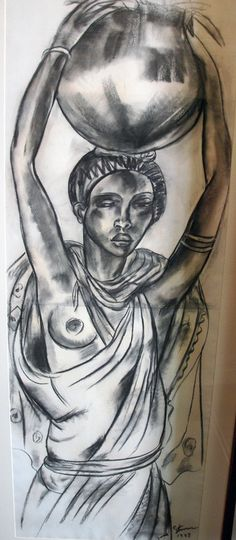 Woman with Pot Charcoal, Irma Stern, Irma Stern Museum Art Pictures, Art Pics, South African Artists, Cool Drawings, Painting & Drawing, Charcoal, Gallery, Museum, Woman