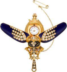 Timepieces:Pendant , Swiss Fine Gold, Enamel & Diamond Scarab Form Watch, circa1900. ... Image #1