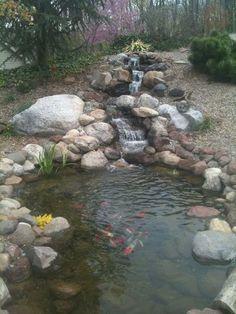 Wonderful Backyard Fish Pond Design Ideas to Garden Landscaping Your Home Rain Garden Design, Pond Design, Landscape Design, Fish Ponds Backyard, Backyard Water Feature, Backyard Waterfalls, Garden Ponds, Koi Ponds, Ponds With Waterfalls