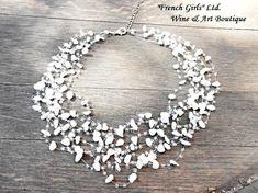 Weißer Achat Hochzeit Halskette Multistrand schweben rohen Edelstein Glas Rocailles Perlen Häkelkette Luft schweben Multistrand Braut Halskette