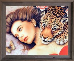 Impact Posters Gallery Framed Wall Decor Lady with Leopard Jungle Love Black Picture Art Print
