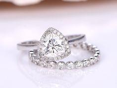 Moissanite Ring Set,6.5mm Trillian Cut Moissanite Engagement Ring With Plain Gold Band,Full Eternity Diamond Wedding Band,14K White Gold by PENNIjewel on Etsy