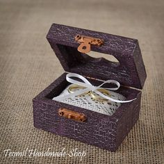 Wedding Ring Box, Ring Bearer , Alternative Ring Pillow, Rustic, Vintage style in Purple color