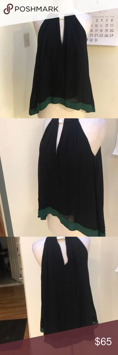THINK SPRING! FABULOUS SILK TOP ELIZABETH & JAMES I KNOW ITS COLD OUT THERE! WELL IT IS HERE BUT IM GOING TO START THINKING SPRING AND THIS TOP IS IT! Flows perfectly- hi- low silk black with a green border at the hem! Absolutely stunning! Elizabeth and James Tops Tank Tops