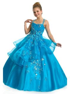 2015 NEW Cross Straps Blue Girls Pageant Dresses