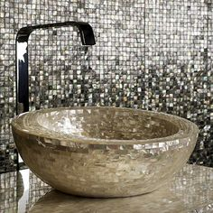 Love, love, love this sink! Mother of Pearl Decor by Antolini Luigi - Shellstone Collection