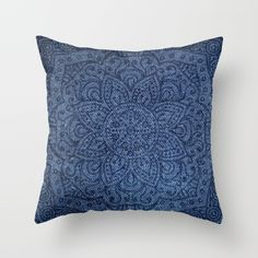 Mandala on Blue Jeans Throw Pillow