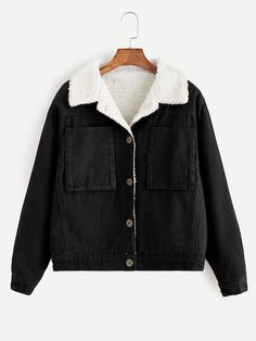 Shop Contrast Sherpa Lined Jacket online. SheIn offers Contrast Sherpa Lined Jac. - Shop Contrast Sherpa Lined Jacket online. SheIn offers Contrast Sherpa Lined Jacket & more to fit your fashionable needs. Source by mblabruyere - Fall Jackets, Line Jackets, Jackets For Women, Outerwear Jackets, Black Jackets, Women's Jackets, Bomber Jackets, Denim Jackets, Fashion Mode