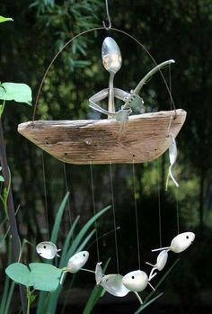 Recycled spoon art, fishing wind chime. Fro, DIY It's easier than you think FB page.