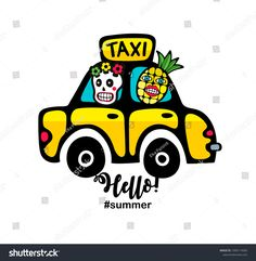 Creative summer print with yellow taxi car and monsters. Vector illustration of sugar skull in transport.