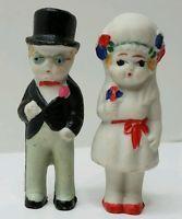 Vintage BRIDE and GROOM Bisque ADORABLE Cake Topper Dolls Porcelain Figurines