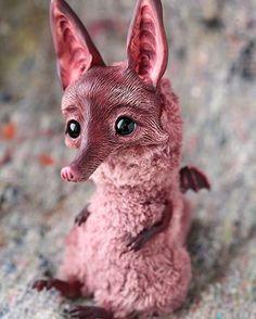 Awesome Oso - truly awesome!!! Bat fox. #art #artdoll #claydoll #handmade #fox #bat #batfox