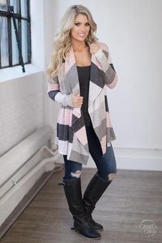 Love long cardigans for fall and winter. This pink cardigan and ...