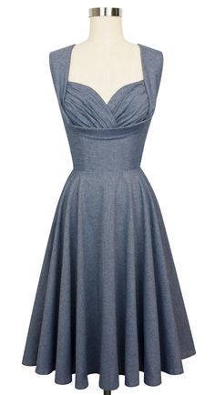 Trashy Diva Honey Sun Dress | 1950s Inspired Dress | Blue Chambray