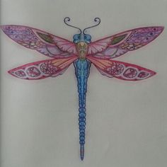 Enchanted Forest book. Pretty pink and blue dragonfly! Loved the little heart in the bottom!