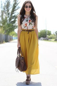 c6b8876b738 Discover this look wearing Mustard Maxi Romwe Skirts